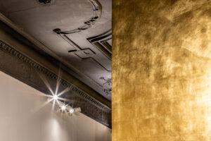Vergoldete Wände im Design-Büro OJALA-Werke, Berlin. Detail