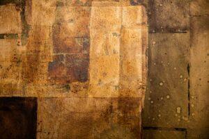 Schichtarbeit. Mit verschiedenen Blattmetallen veredelte Leinwand, 1m x 1m. Detail 2
